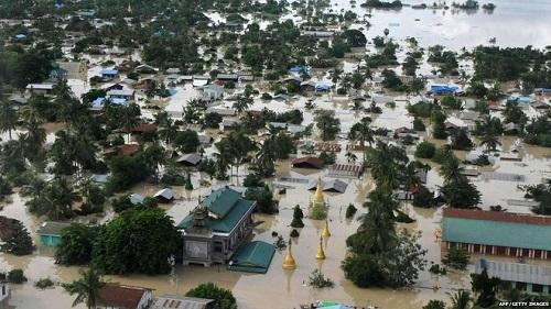 ↑サガイン地域の洪水のようす(BBCのサイトより)